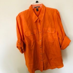 Ralph Lauren Orange Linen Button Down Top